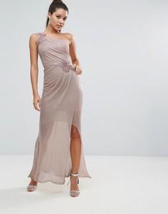 Платье макси на одно плечо со сборками Lipsy - Розовый