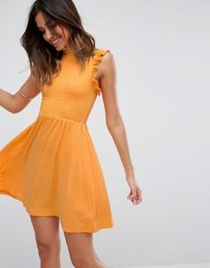 13f0831735f Короткое приталенное платье с присборенной отделкой ASOS - Оранжевый
