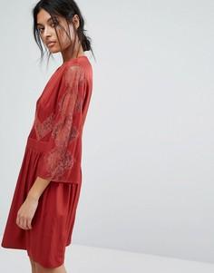 Платье с кружевной вставкой Gestuz - Красный