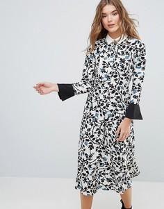 Платье с длинными рукавами и воротником Closet - Мульти
