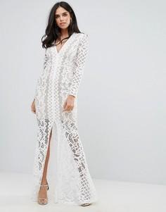 Кружевное платье макси с глубоким вырезом Forever Unique - Белый