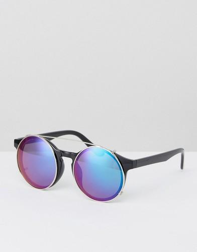 Круглые солнцезащитные очки с голубыми стеклами Jeepers Peepers - Черный