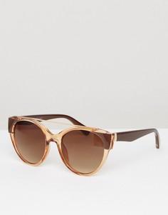 Круглые солнцезащитные очки в янтарной оправе с планкой сверху AJ Morgan - Коричневый