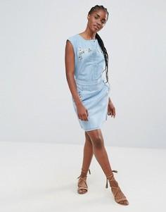 Джинсовая юбка-трапеция с вышивкой Bellfield Wisteria - Синий