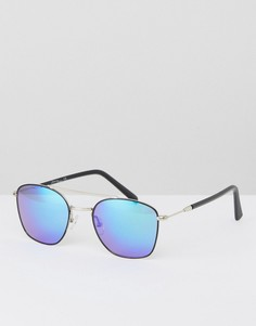 Черные солнцезащитные очки-авиаторы с синими стеклами Jeepers Peepers - Черный