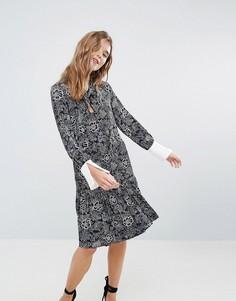 Платье с принтом и оборкой на подоле Closet - Мульти