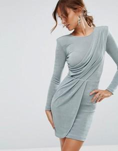 Асимметричное облегающее платье мини с подплечниками ASOS - Синий
