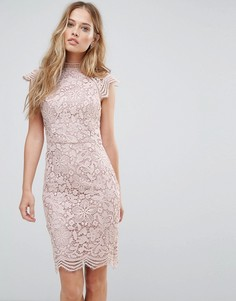Кружевное платье-футляр с фигурными краями Chi Chi London - Светло-серый