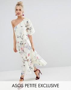 Платье миди на одно плечо со складками ASOS PETITE - Мульти