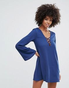 Свободное платье со шнуровкой Motel Miriam - Темно-синий
