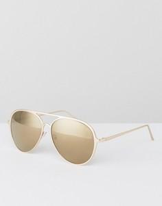 Золотистые металлические солнцезащитные очки-авиаторы AJ Morgan - Золотой