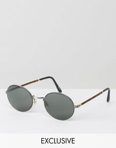 Круглые солнцезащитные очки в металлической/черепаховой оправе Reclaimed Vintage - Черный