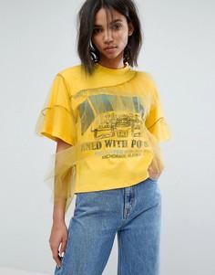 Свободная футболка с сетчатыми оборками STYLENANDA - Желтый