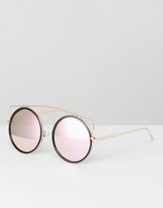 Черные круглые солнцезащитные очки с розовыми стеклами Jeepers Peepers - Черный