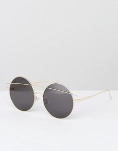 Круглые солнцезащитные очки в золотистой оправе Jeepers Peepers - Золотой