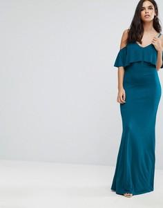 Платье макси с открытыми плечами и оборкой Club L - Синий