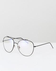 Черные очки-авиаторы с прозрачными стеклами Jeepers Peepers - Черный