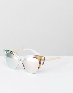 Квадратные солнцезащитные очки с цветочным принтом Jeepers Peepers - Прозрачный