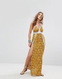 Платье макси с цветочным принтом Kiss The Sky - Желтый
