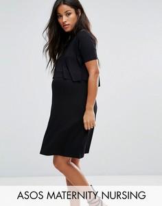 Платье с сетчатой вставкой ASOS Maternity NURSING Victoriana - Черный