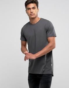 Длинная однотонная футболка Jack & Jones - Серый