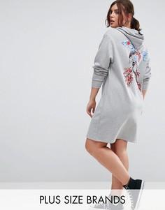 Платье-худи с принтом на спине Pink Clove - Серый