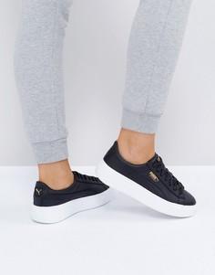 Белые кожаные кроссовки на платформе Puma Basket - Белый