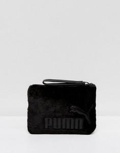 Черный клатч с отделкой из искусственного меха Puma - Черный