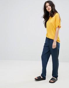 Широкие брюки со складками Vila - Темно-синий