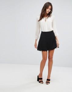Мини-юбка с кружевной отделкой Vila - Черный