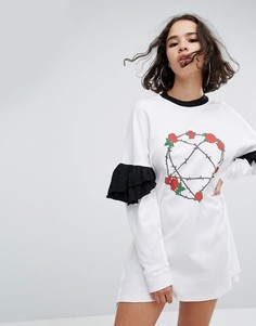 Платье с оборками на рукавах The Ragged Priest Heartagram - Белый