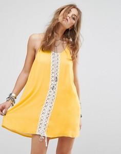 Фестивальное платье на лямках со шнуровкой Kiss The Sky - Желтый