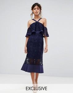 Кружевное платье миди с открытыми плечами Jarlo - Темно-синий