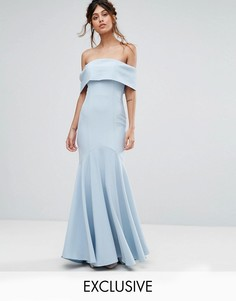 Платье макси с лифом-бандо и асимметричным краем Jarlo - Синий