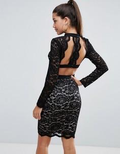 Кружевное платье-футляр Love Triangle - Черный