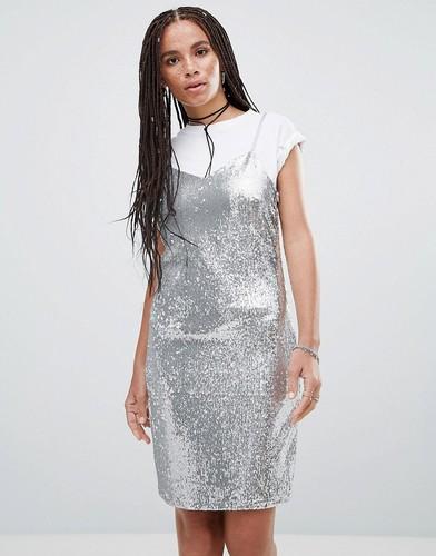 Платье-комбинация с пайетками Noisy May Lola - Серебряный