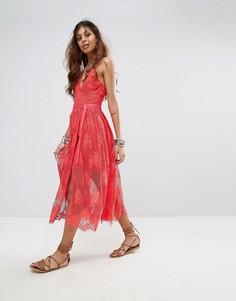 Платье миди с кружевным слоем Free People - Розовый