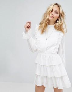 Ярусное платье со складками Moon River - Белый