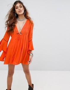 Платье с рукавами клеш Free People Romeo - Оранжевый