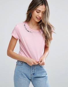 Короткая футболка с круглым вырезом Brave Soul Take It Or Leave It - Розовый