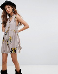 Платье с принтом Free People Lovely Day - Серый