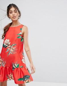 Платье А-силуэта с цветочным принтом и баской Closet - Мульти