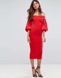 Платье миди с открытыми плечами и пышным рукавом на манжете TFNC - Красный