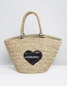 Большая соломенная сумка с сердцем из пайеток Pia Rossini - Черный