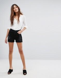 Джинсовые шорты с необработанным краем Vero Moda - Черный