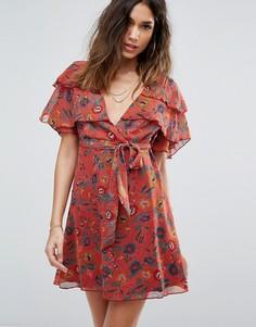 Чайное платье с цветочным принтом Boohoo - Оранжевый