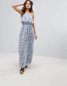Платье макси с оборкой и цветочным принтом Yumi - Синий