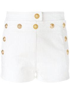 джинсовые шорты с отделкой в виде головы льва  Balmain