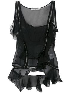 топ с декоративными молниями Givenchy