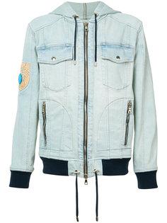 джинсовая куртка с нашивкой Balmain